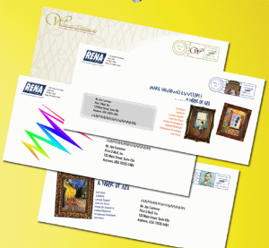 Sample of envelopes produced on the Rena Mach 5 Color Addressing System