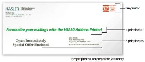 Sample of a envelope that can be printer with this used neopost as-830