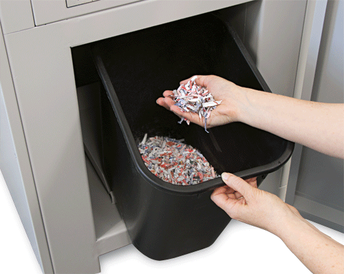 Waste bin on the formax fd 87 casino shredder