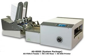 AS-850S (System Package) Shown with: AS-FDR14 Feeder + RS-140 Riser + AS-850 Printer