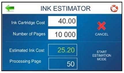 Ink cost estimator